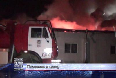 Прикарпатські рятувальники цілу ніч гасили пожежу у промисловому цеху (ВІДЕО)